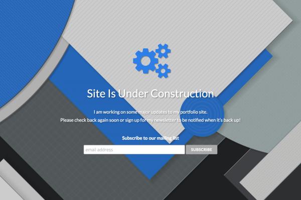 JeffreySiereveld.com Maintenance Page Screenshot