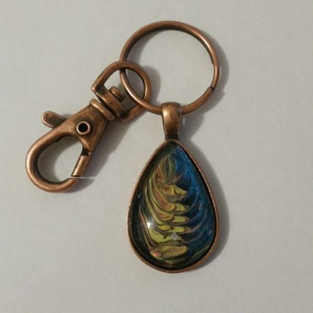 One of a kind fluid acrylic teardrop antique copper pendant keychain by Jeffrey