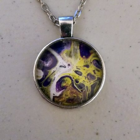 Purple, white and yellow fluid acrylic 1 inch pendant necklace.