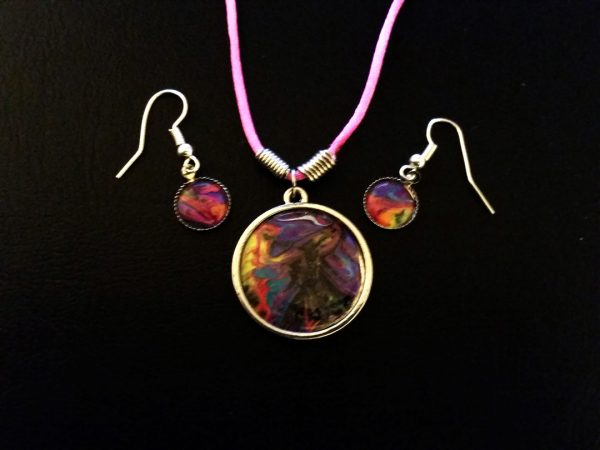 UV Neon Pendant Necklace and Earring Set
