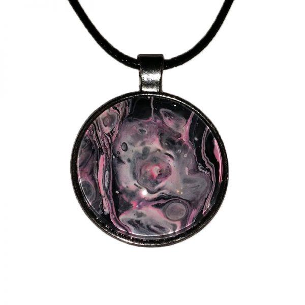 One of a kind UV Pink Rose Nebula Pendant Necklace