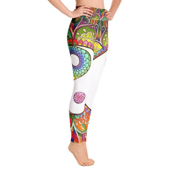 Rainbow Yin Yang Floral Yoga Leggings