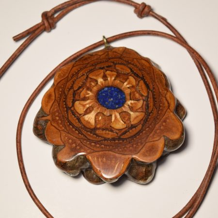 Crushed Lapis Pinecone Pendant Necklace